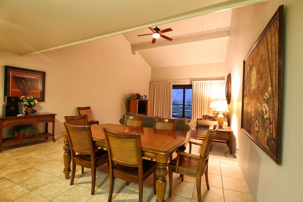 dining table with living area behind