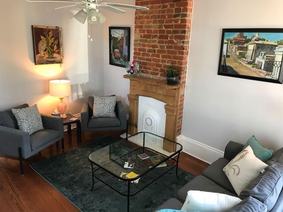 Enjoy your down time in our living room with 10 foot windows!