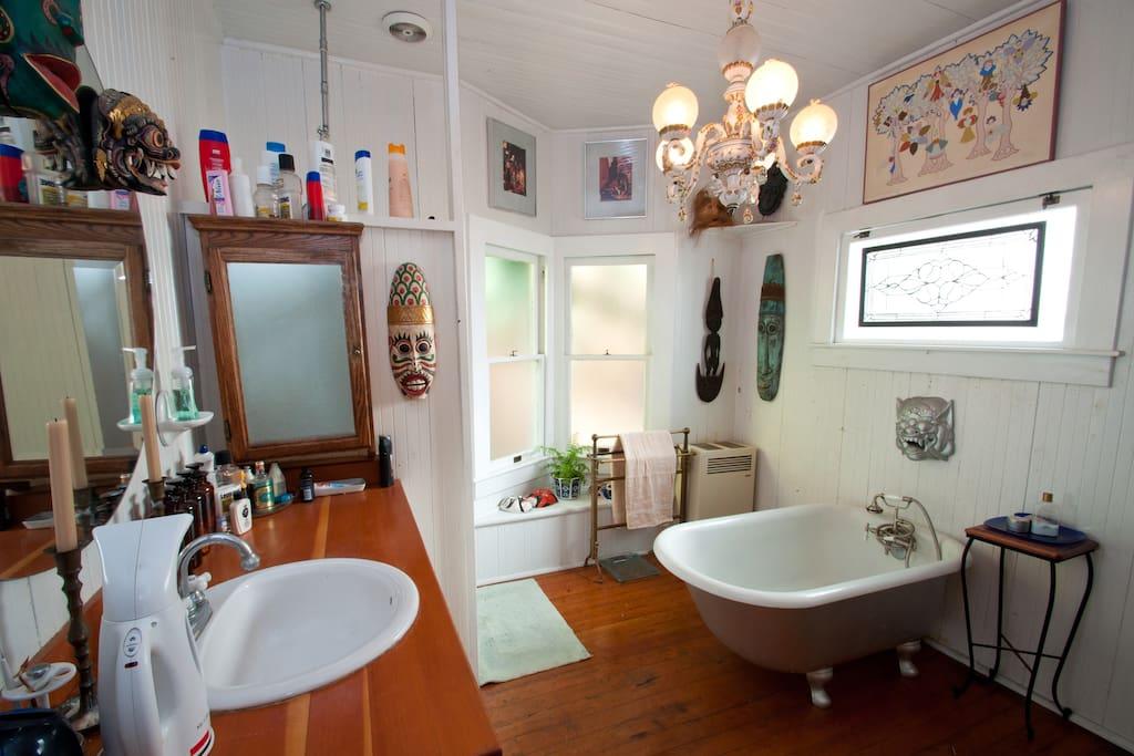 West bathroom with the original claw foot tub.