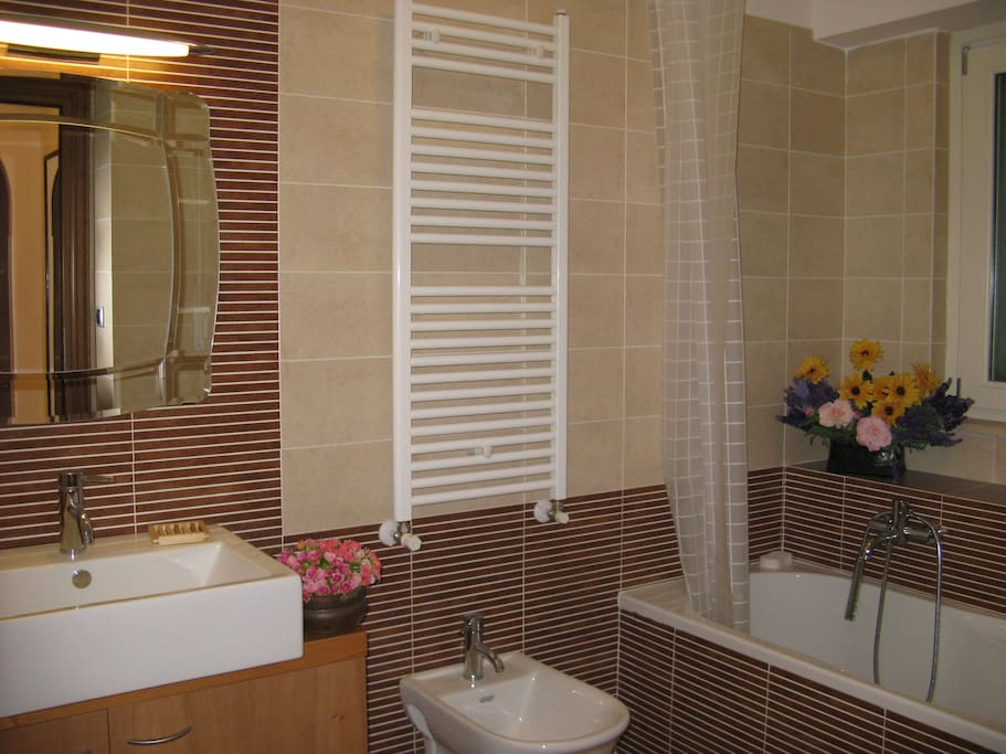 Bathroom with bath tub and shower and large mirror