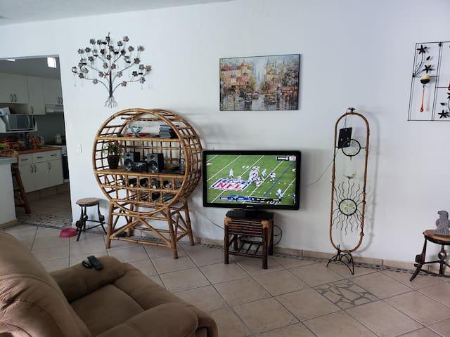 Sala con sofá cama y tv.