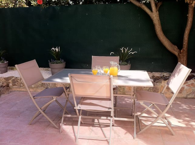 Fabulous dining terrace with sun canopy if the sun is too much!