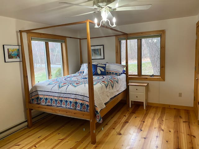 First downstairs bedroom with a queen size bed and beautiful views of the backyard and lake