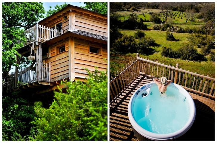 Treetop Cabin with Hot Tub- Rocamadour, Dordogne