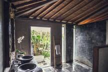 Bathroom with bath at exterior.