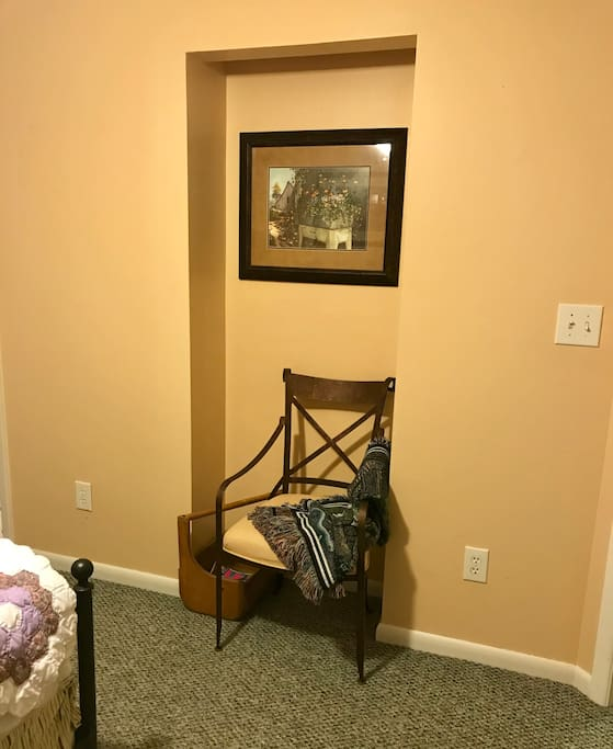 Small reading nook in the bedroom