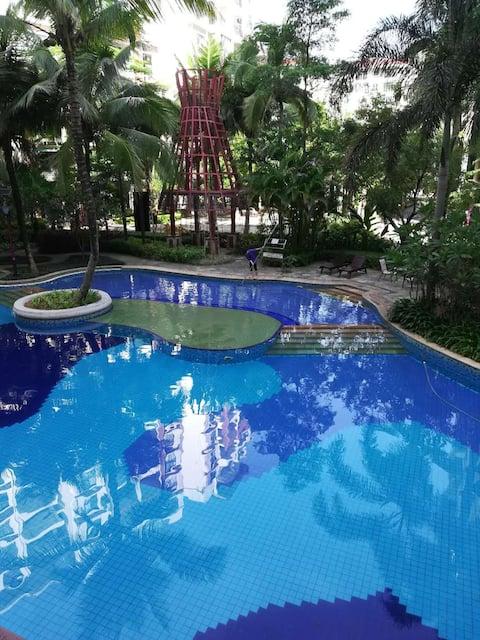 五指山氧吧养生民宿!泳池、热带景观,享受海南休闲假期!