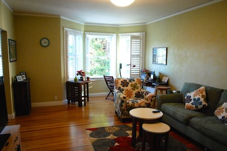 A cozy two-bedroom apartment situated in the vibrant neighborhood of Haight-Ashbury, the heart of San Francisco. It is very convenient to get around from here.