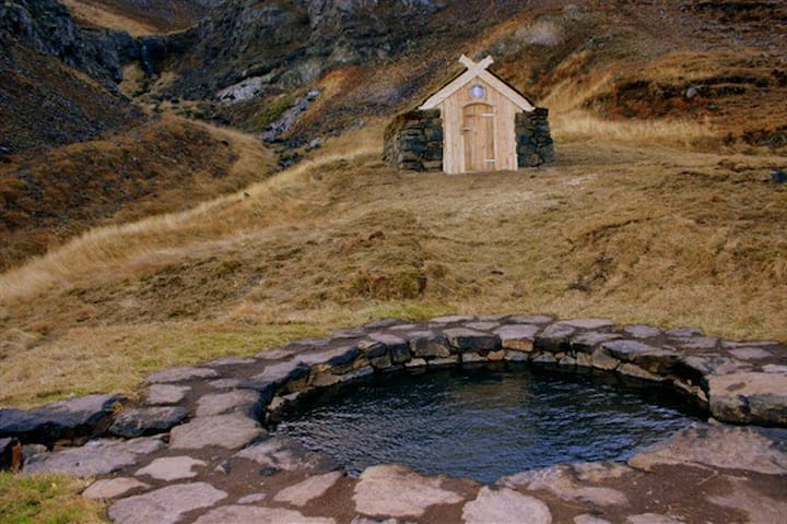 In Sælingsdalur (30 km. 18 mi), there is a swimming pool with bathing facilities at Laugar, Sælingsdal - Also if you prefer, a  gethermal pool made the same way as during viking age - open 24/7 free of charge