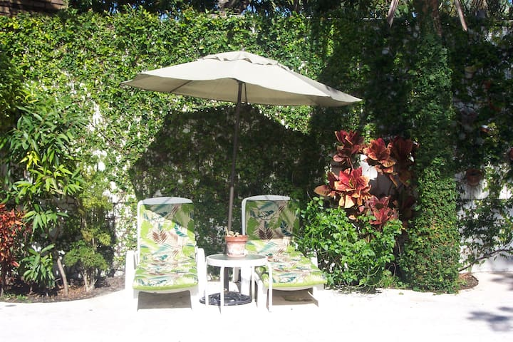 chaise lounges amidst tropical foliage