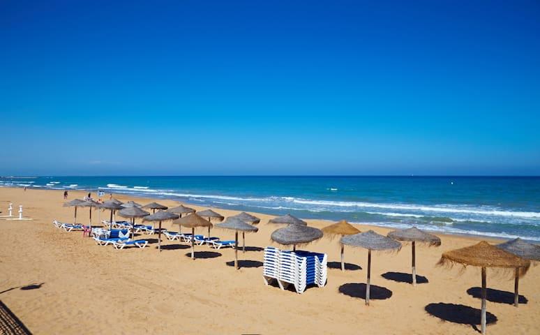 Apartment near sandy beach, amenities and pool