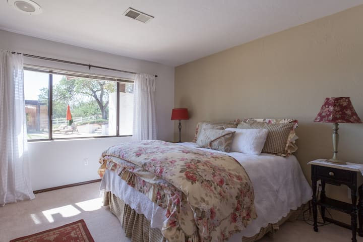 One of two available bedrooms.  Both have large windows.