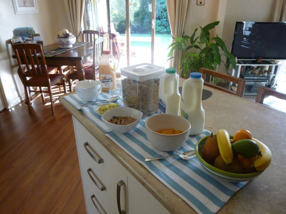 Home made muesli and fresh fruit awaits you!