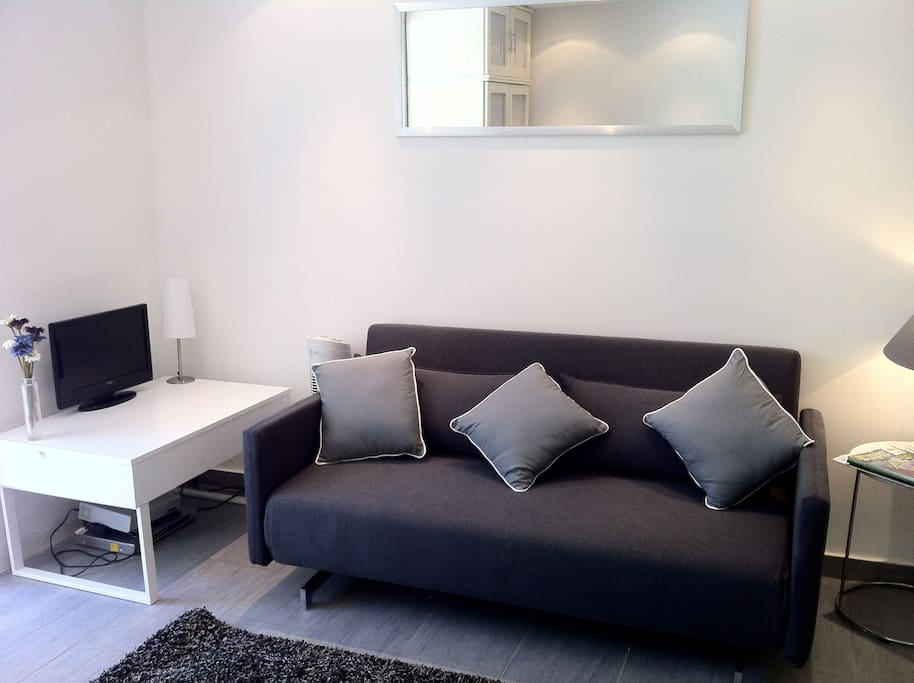 Newly refurbished showing sofa bed and TV area