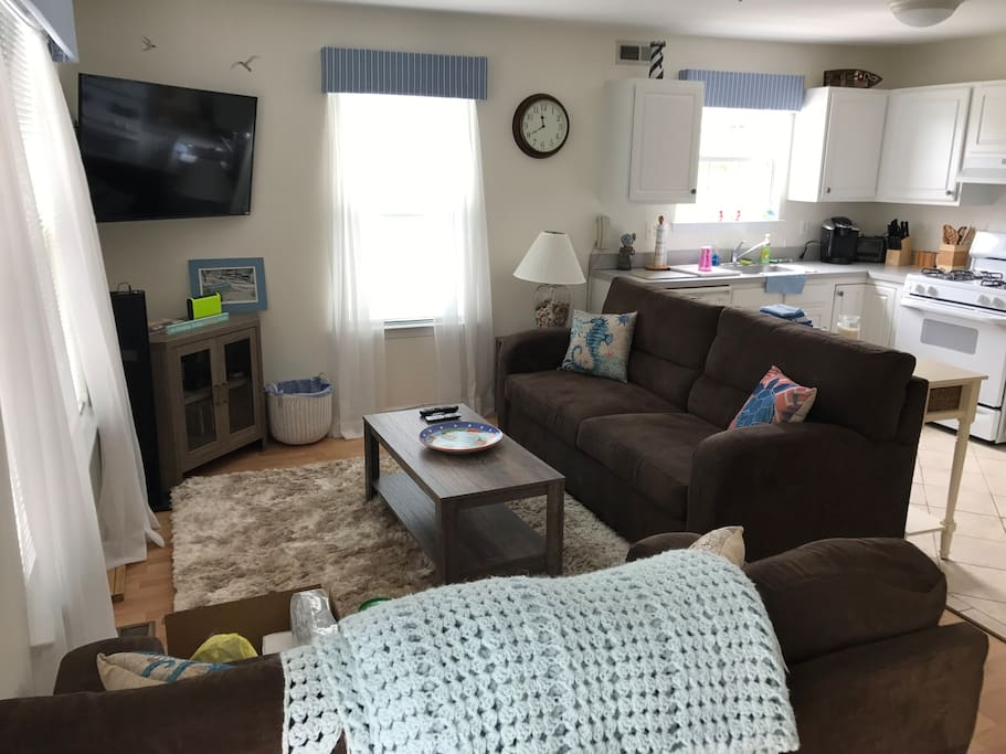 Living room with cable TV and pull out couch