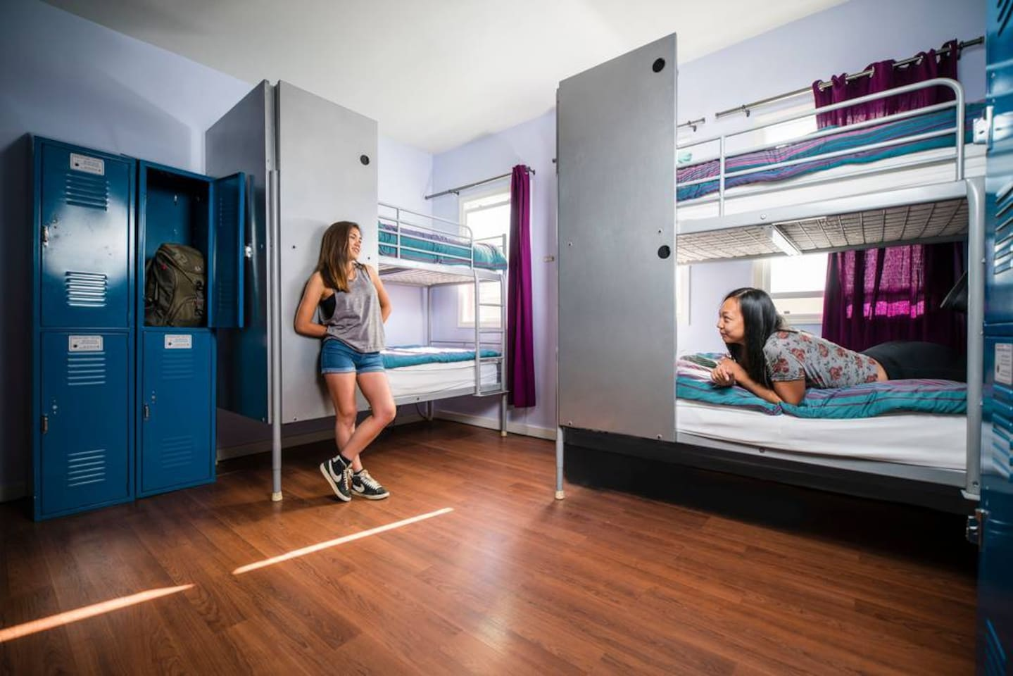 Bed in 6-bed female dorm with bathroom