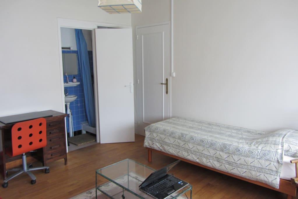 pièce à vivre de 16 m2 avec lit et salle d'eau.