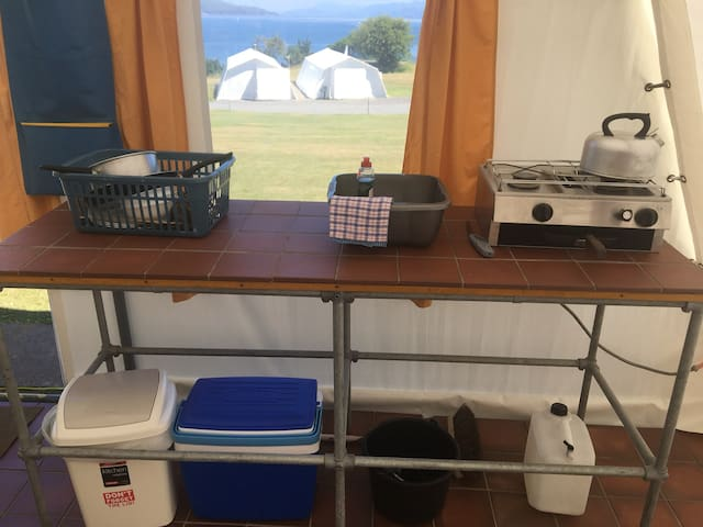 Standard Shieling Tent basic camping kitchen, with sea view.