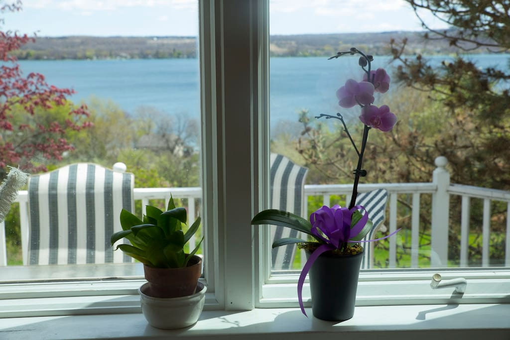 Sweeping views of Canandaigua Lake from the house and deck.