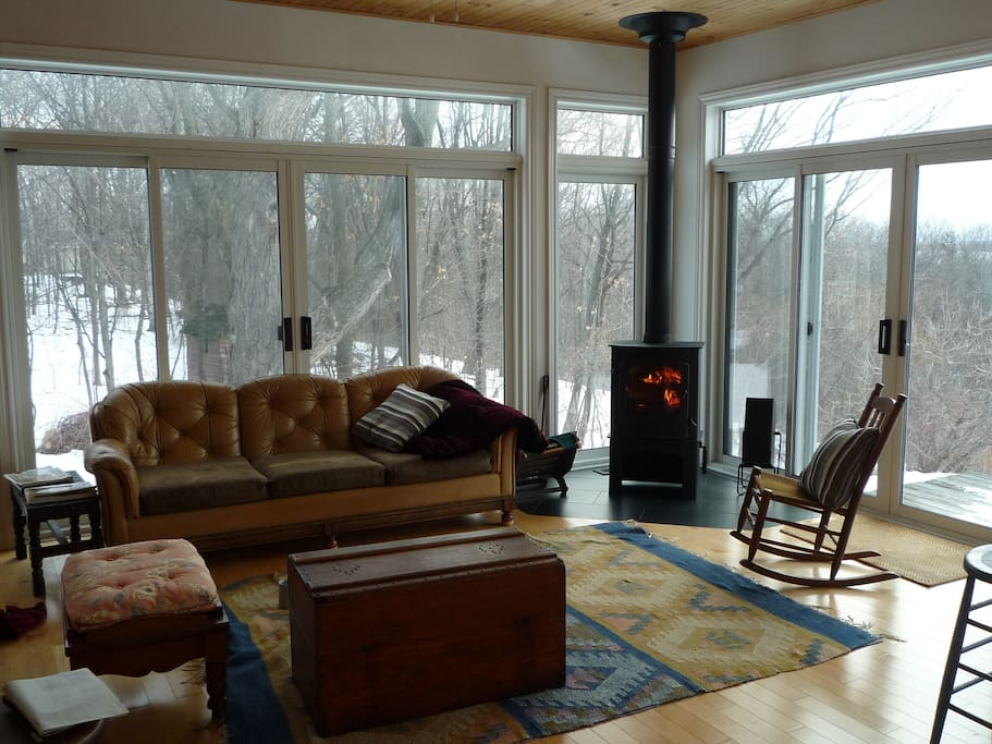 Fireplace in Lakefront Sitting Room