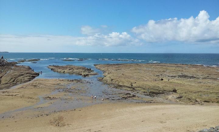 Face mer et plage, vue splendide, commerces à pied