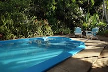 The 9m pool includes a spa