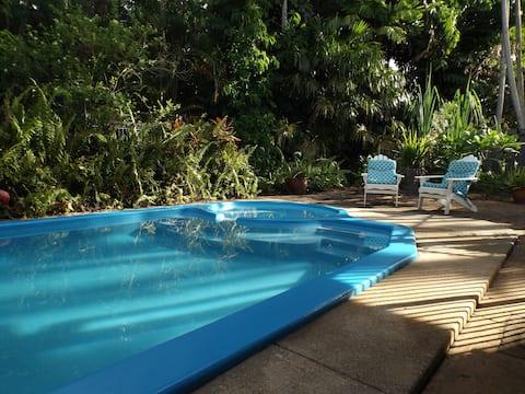 Pokój przy basenie pod tropikalnym podwyższonym domem