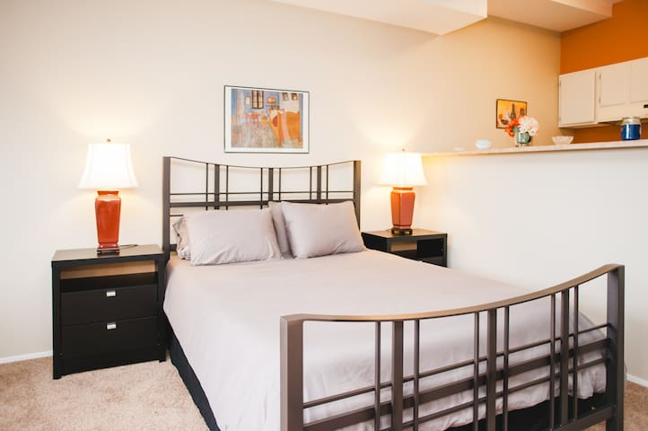This apartment has all new furniture, bedding, mattress, and pillows.