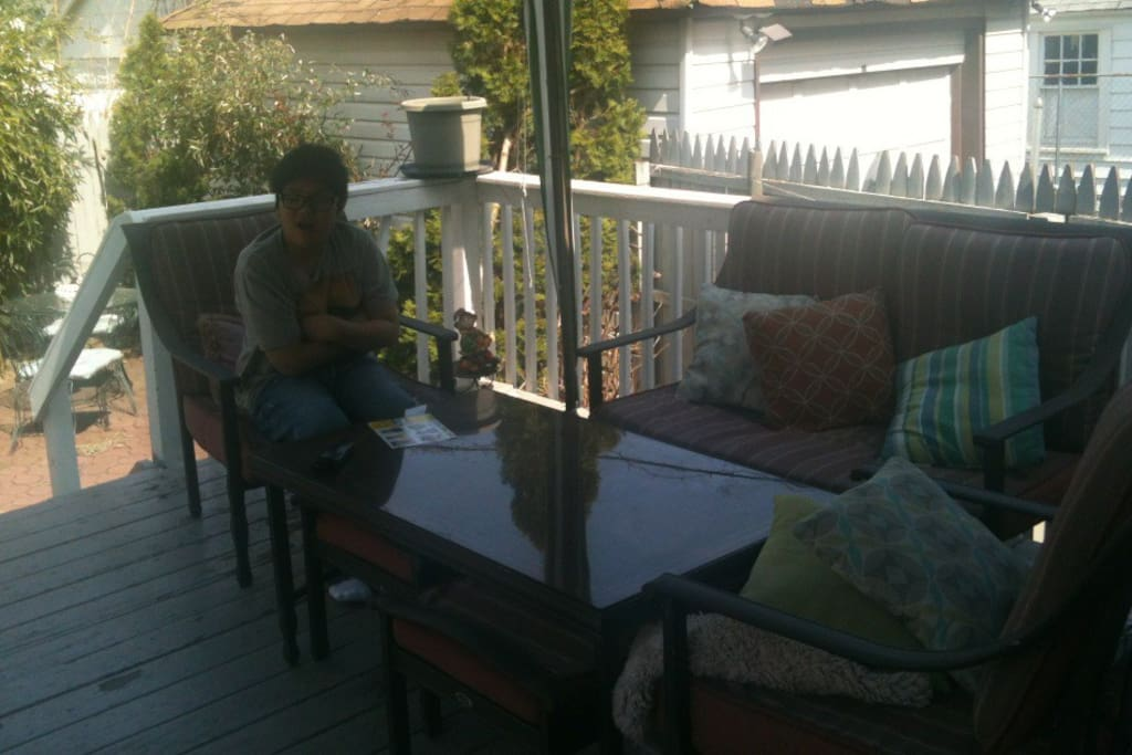 back deck with bamboo trees