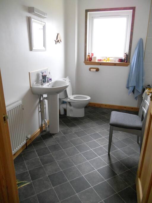 Bright bathroom with bath and powerful shower