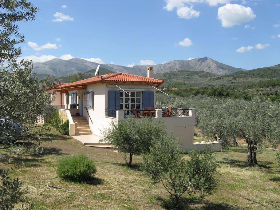 Het huisje vanaf de zijkant gezien, met het heerlijke terras