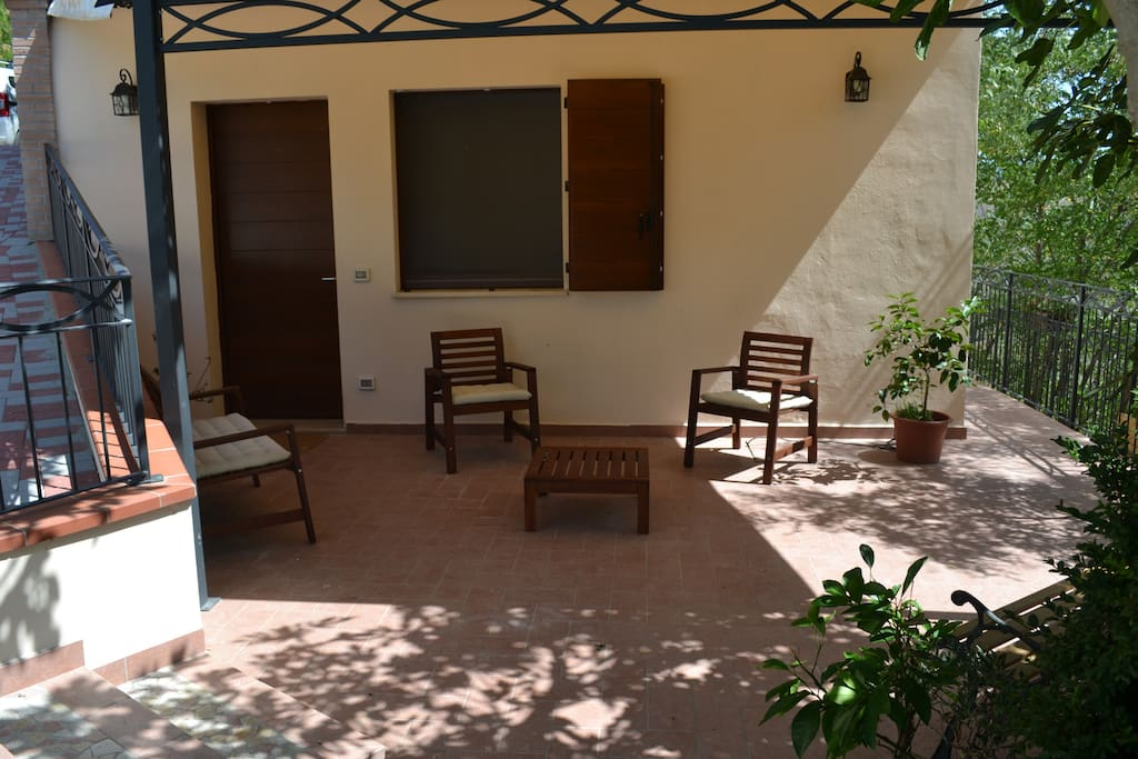 ...a view of the private entrance & the patio.