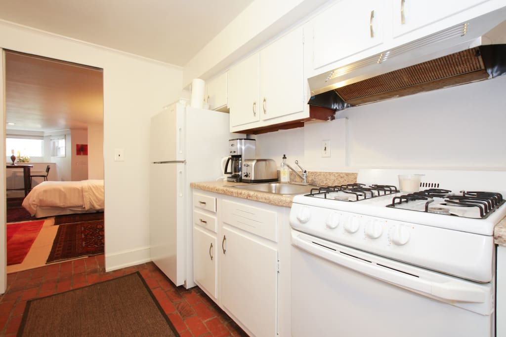 The shared kitchen is stocked with all the basic amenities you will need if you would like to dine in.