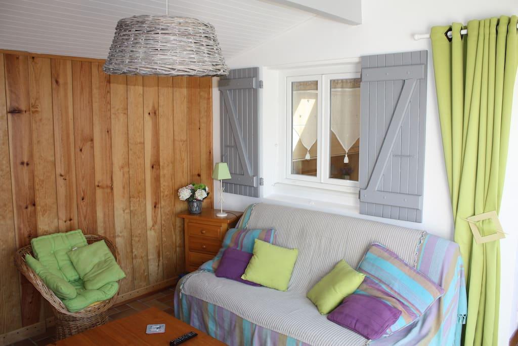 Salon : couchage 2 places dans canapé type clic-clac