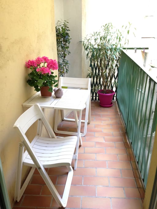Quiet balcony on indoor patio where you can have breakfast.