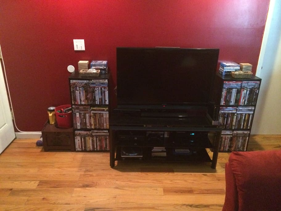Entertainment Area: TV, DVD's Blu-Ray, X-Box 360 w/ Kinect, Nintendo Wii & PS4