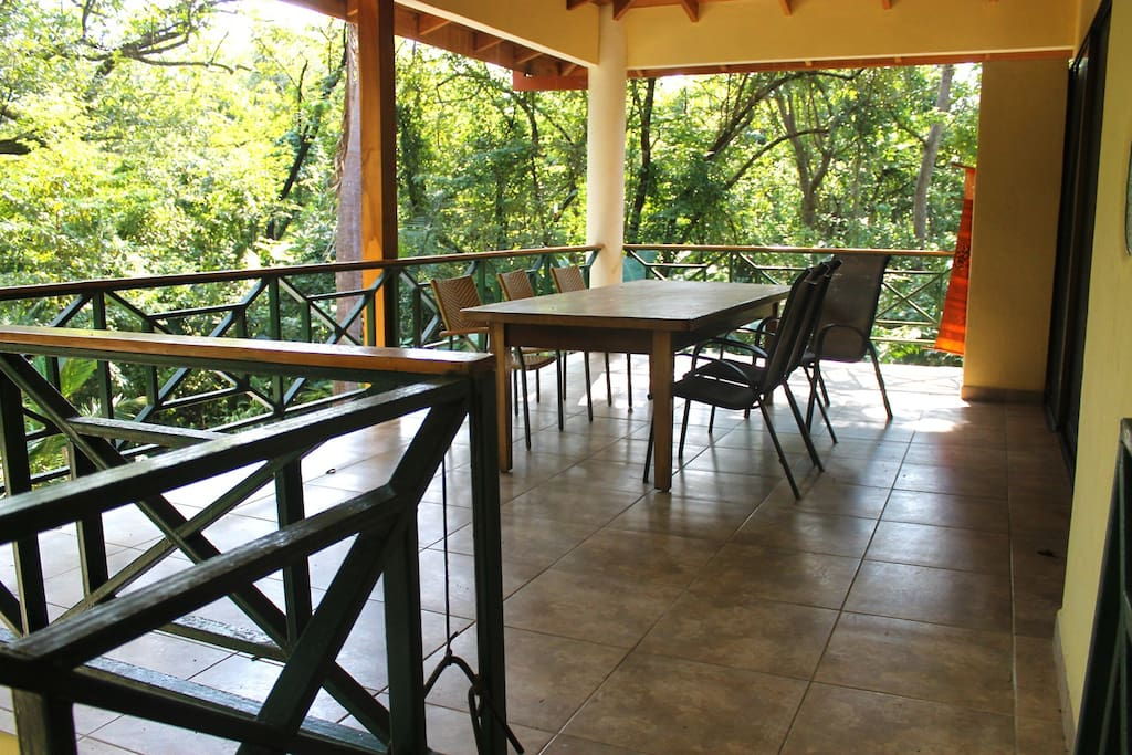 Large balcony overlooking Nosara wildlife preserve