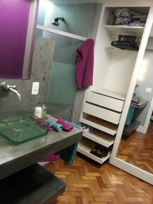 Bathroom with private wardrobe and full size mirror sliding door