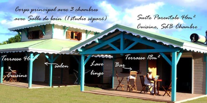 Villa avec bungalow, 4 ch doubles, mer à 200m