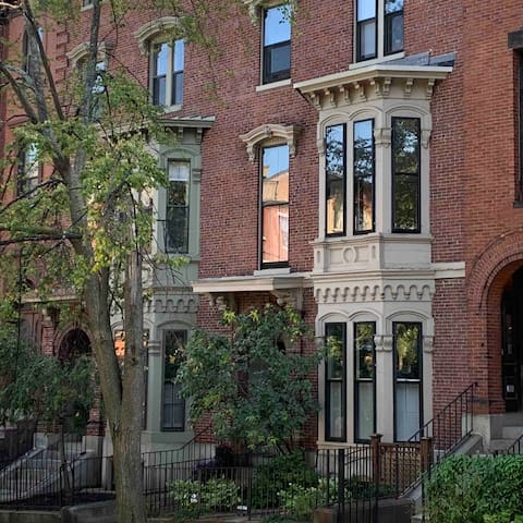 Monument square rowhouses—we are surrounded by classic city charm!