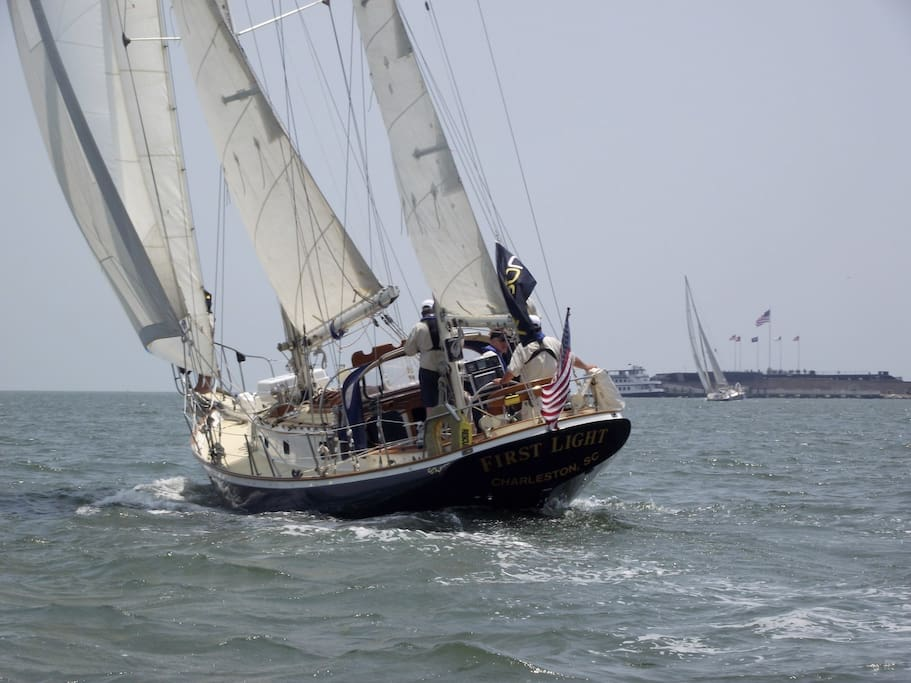 First Light at the start of the Charleston to Bermuda Race 2011 - Ft Sumter off her starboard bow