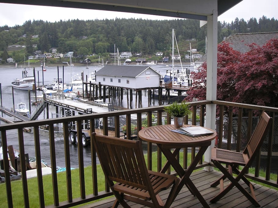 Enjoy Puget Sound - rain or shine - from the covered deck
