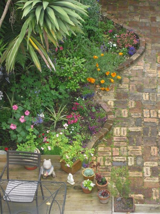 Birds eye view of the back garden.