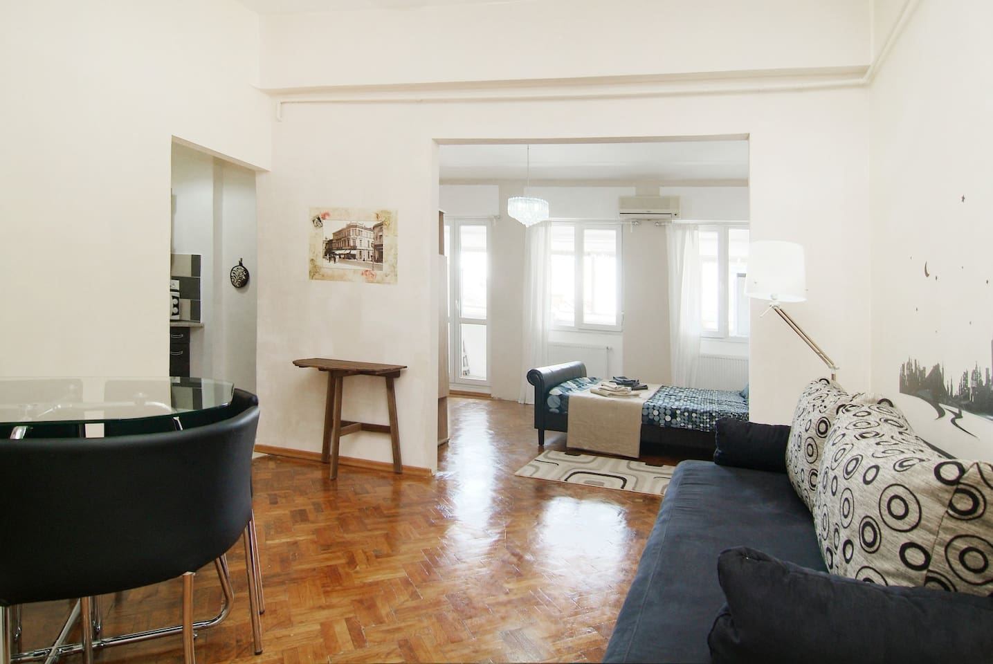 50 sqm apartment with 2 shared rooms  double bed and sofa bed for 2 persons