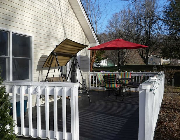 Back porch perfect for eating out or just gazing off into the beautiful Virginia hills.
