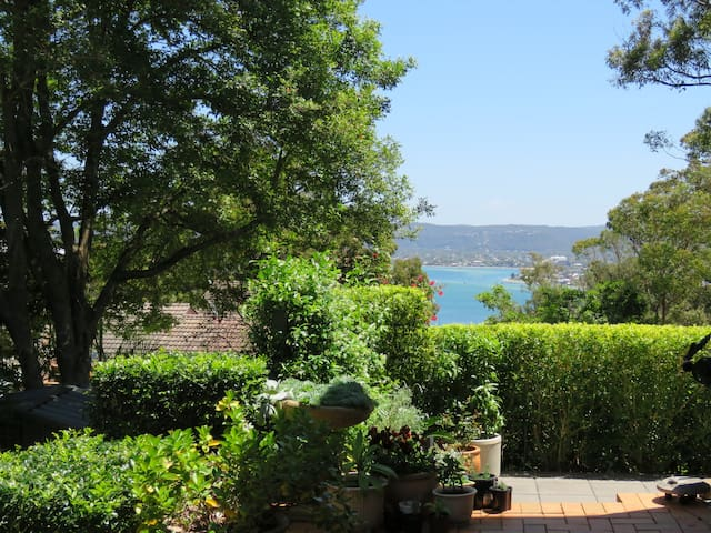Patio with views over Hardys Bay