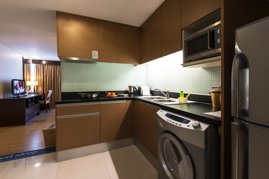 Rooms are fully equipped with a washing machine/dryer, refrigerator, microwave, and kitchen!