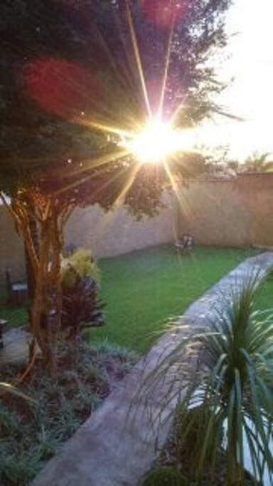 Por do sol na casa