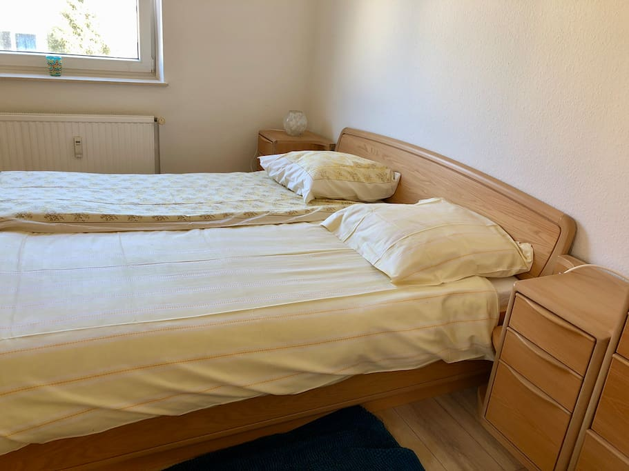 Double-sized Bed and cupboards for you available