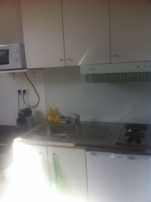 Coin kitchenette avec plaque de cuisson, micro ondes, frigo top, cafetière Nespresso, et accessoire de cuisine.